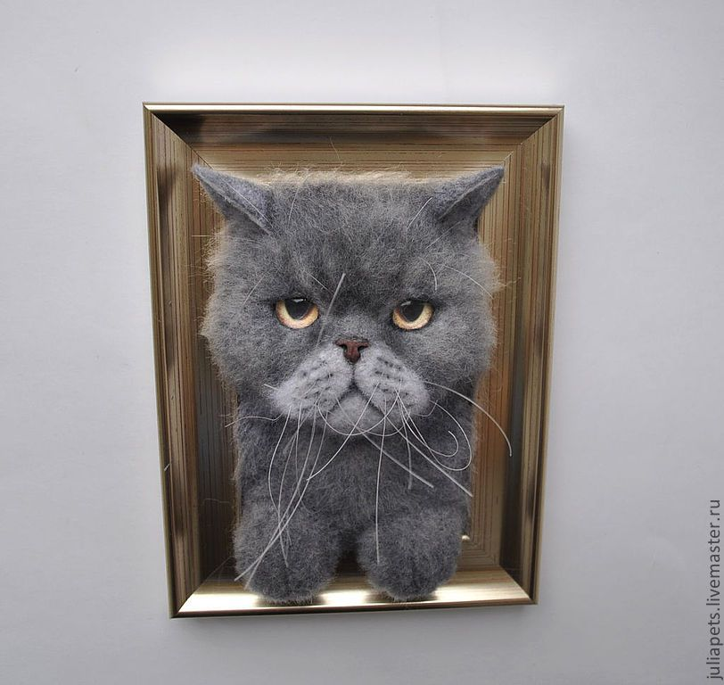 Needle felted cat in frame panel. Love that look on his