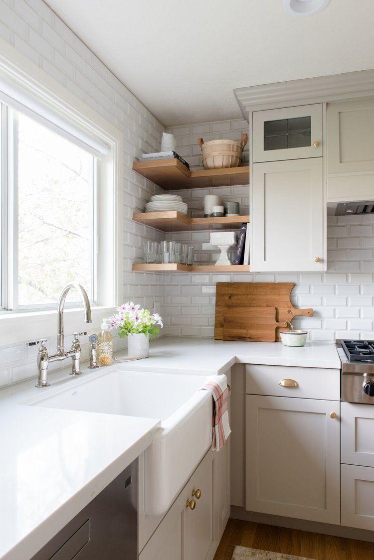 Corner shelves studio mcgee wow interiors kitchens pinterest