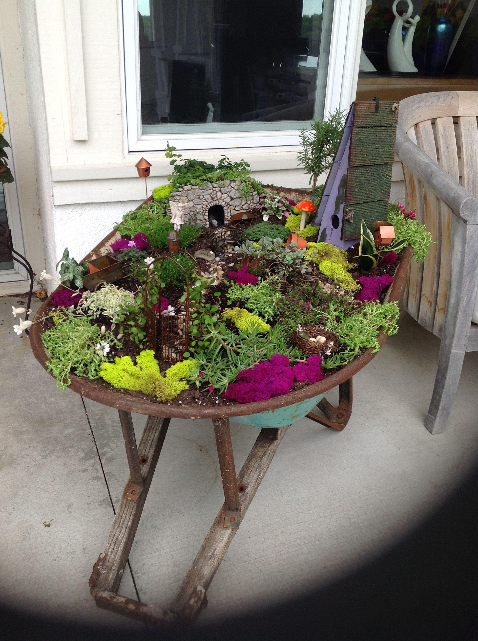 Gnome In Garden: Fairy Garden In A Wheelbarrow - Fairy Gardens
