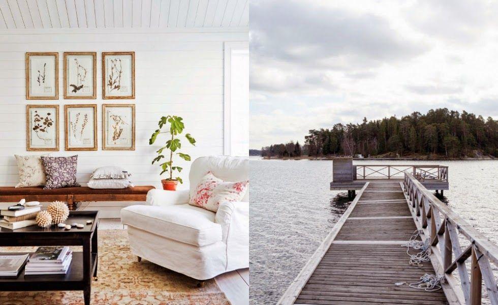 Keltainen talo rannalla: Vaaleita pintoja, rustiikkia ja modernia