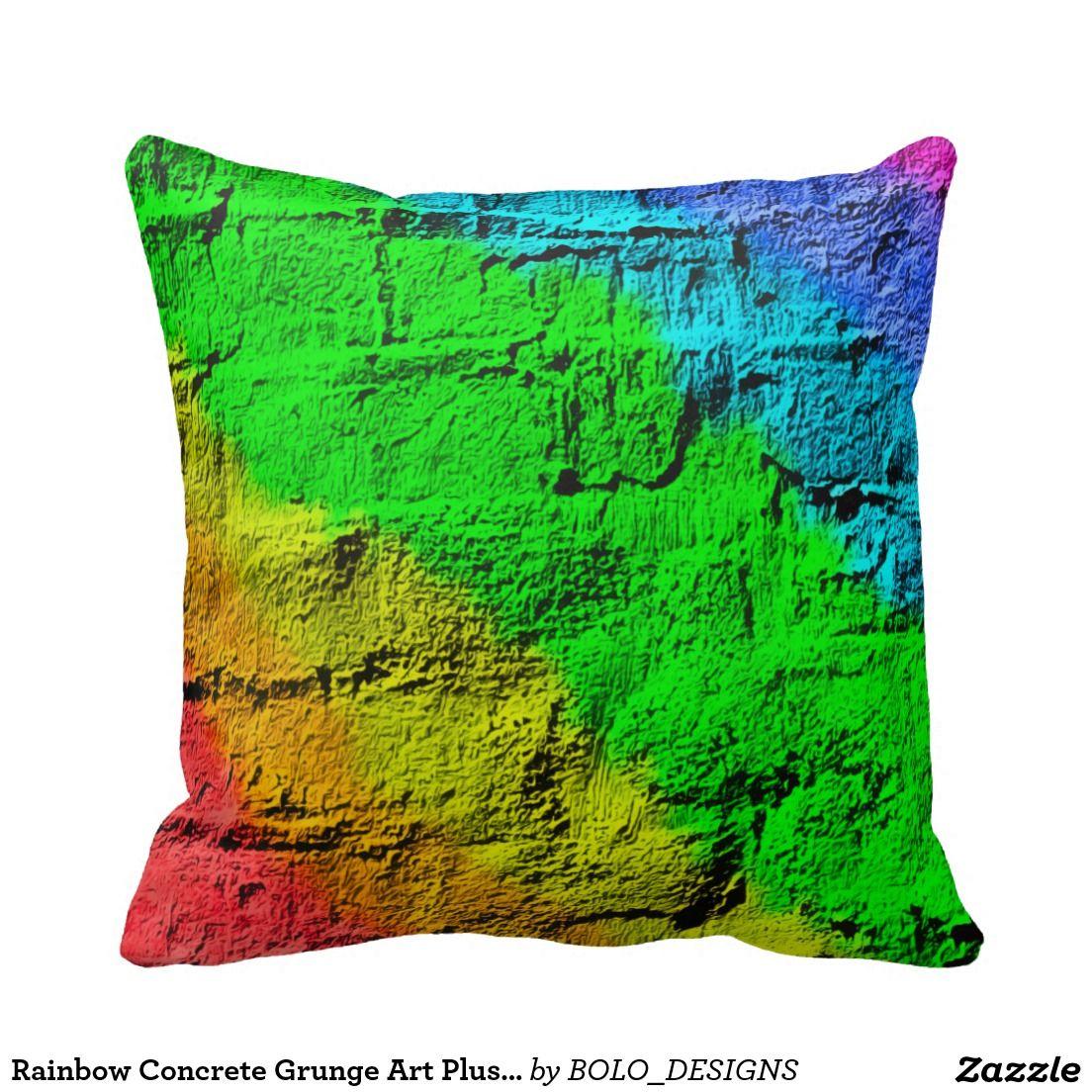 Rainbow concrete grunge art plush throw pillow art grunge art and
