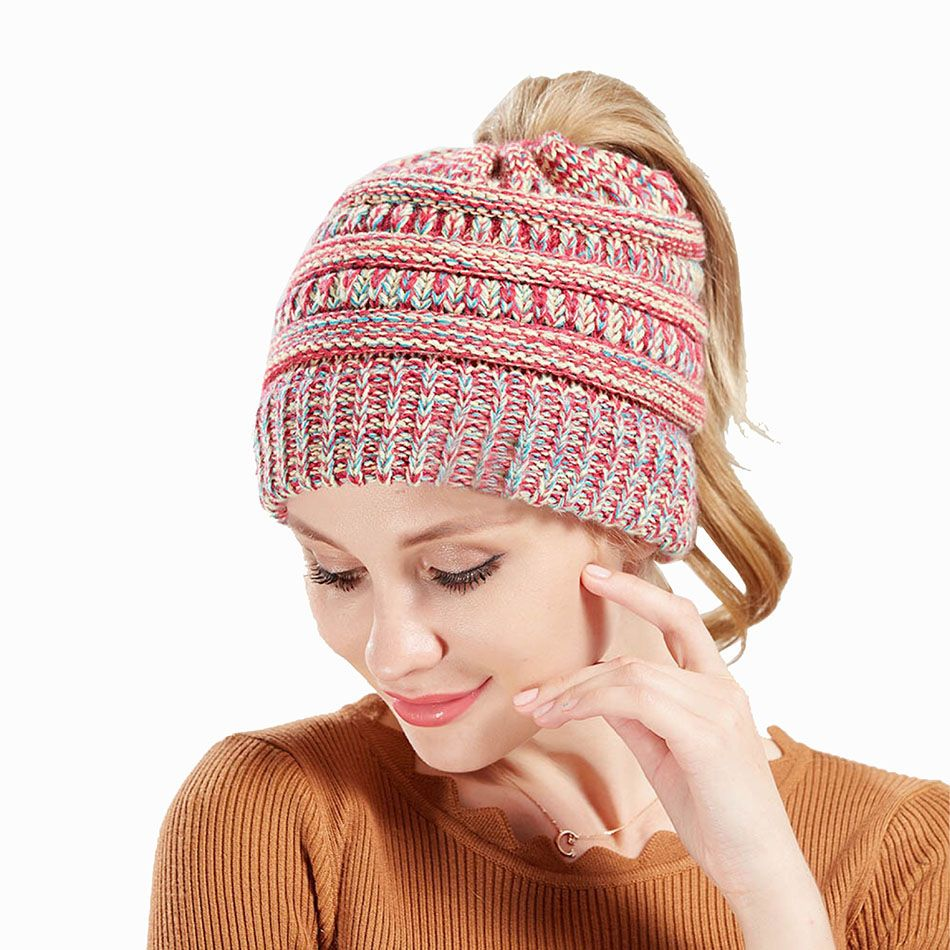 e9866e1bb2beb Ponytail Beanie Winter Hats For Women Crochet Knit Cap Skullies Beanies  Warm Caps Female Knitted Hat Ladies  hats  caps  skullies  weddingdresses   wedding ...