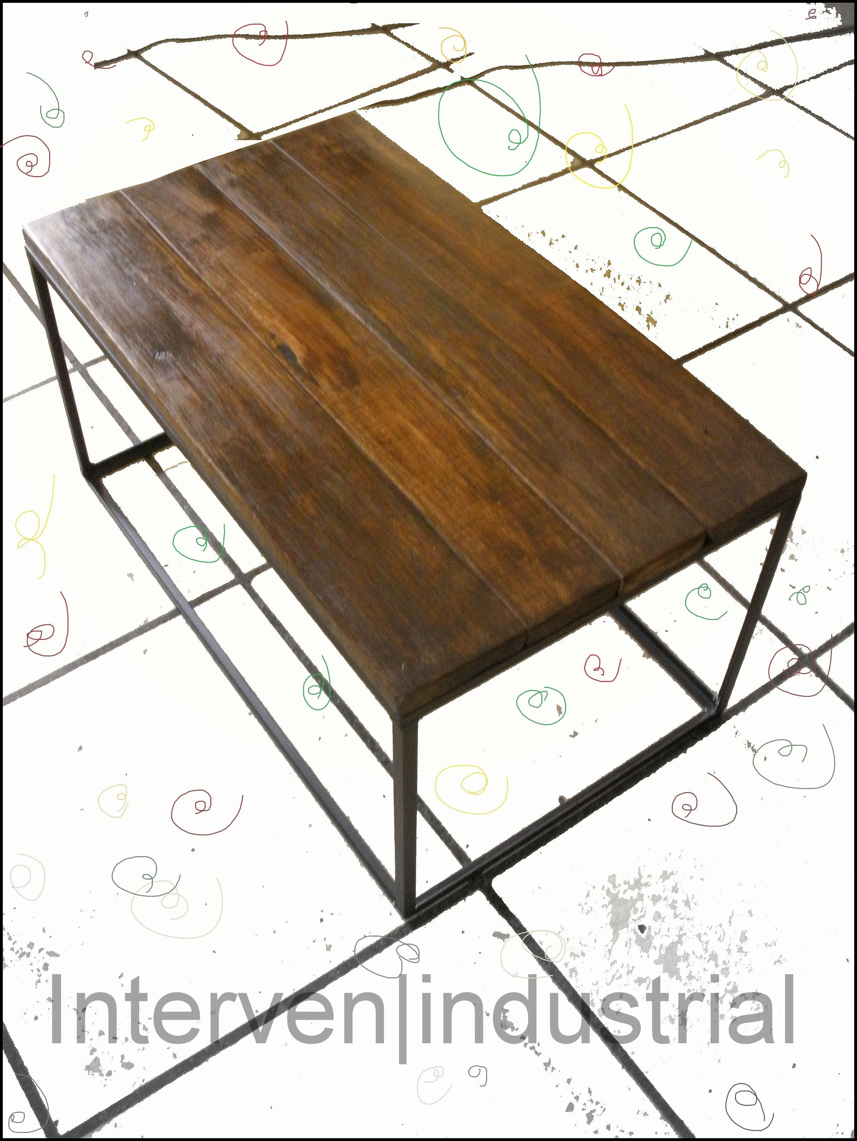 Mesa de centro estilo industrial hierro y madera - Mesa de hierro ...