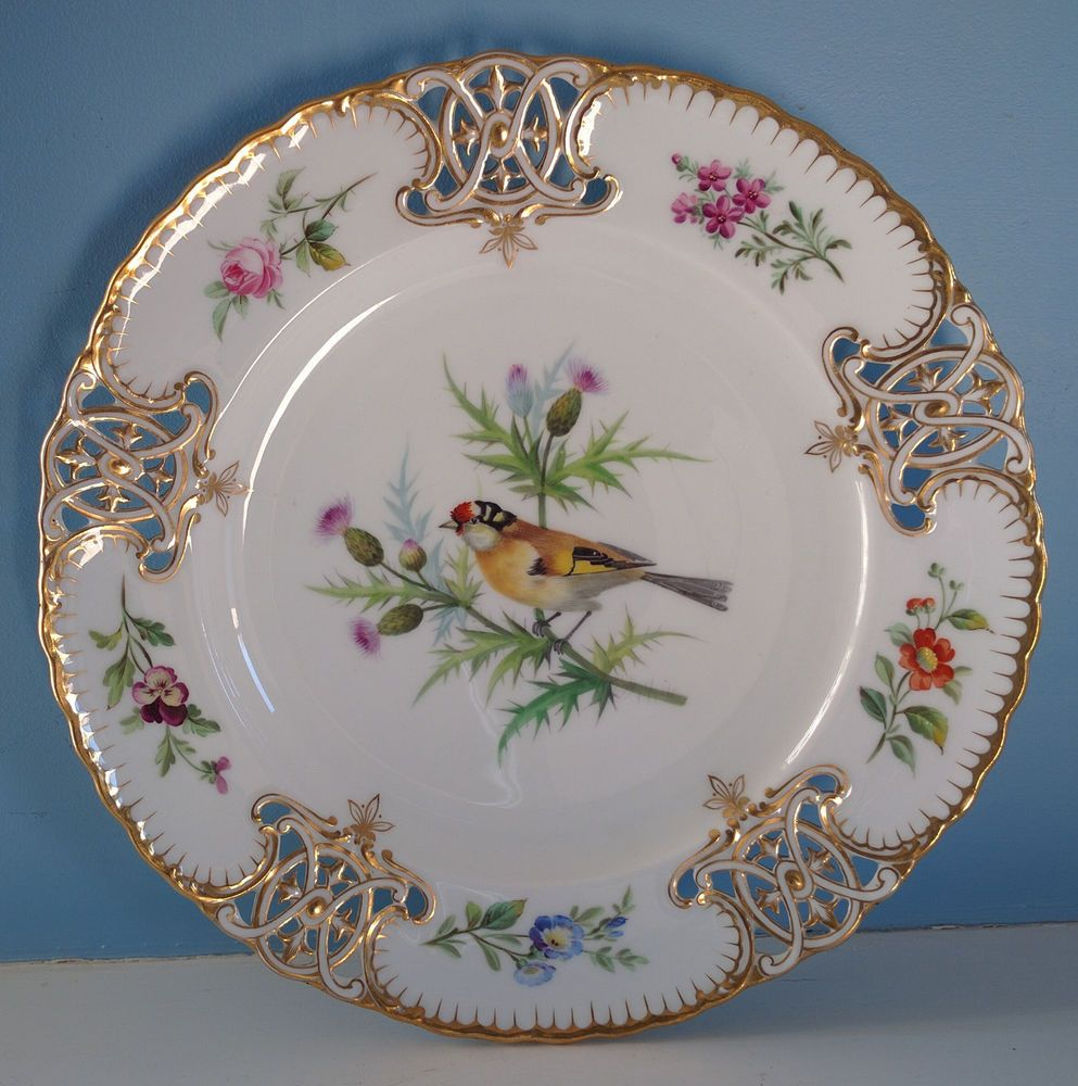 Incredible Antique Minton Bird Plates CA 1860s Pierced Rim w Gold Handpainted | eBay & Incredible Antique Minton Bird Plates CA 1860s Pierced Rim w Gold ...