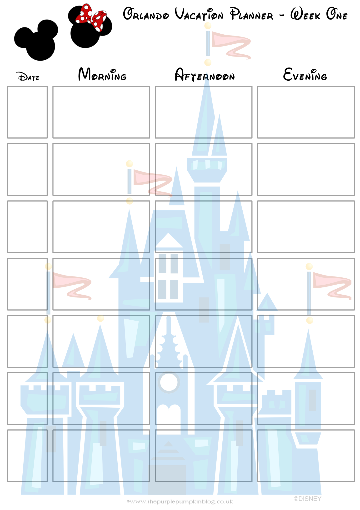 disney vacation itinerary planner template