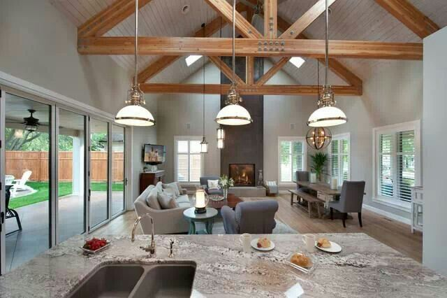 Open Concept Cathedral Cathedral Ceiling Living Room And Kitchen Design Open Plan Kitchen Living Room Open Plan Kitchen Dining
