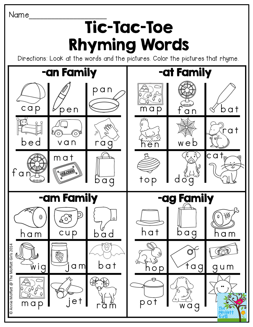 Tic Tac Toe Rhyming Words Find The Words That Rhyme And Color Tons Of Fun Printables
