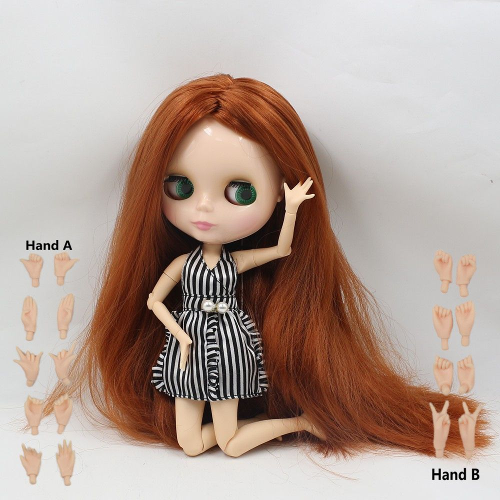12 Blythe factory Nude Doll Long Blue curly Hair Joints