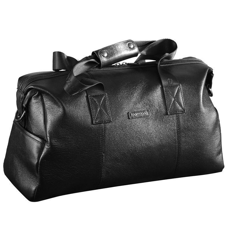teemzone Men s Cowhide Travel Duffle Luggage Bag Black Suitcase Tote Briefcase