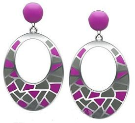 Stainless Steel High Polish Purple Earrings for $16.99 Shipped