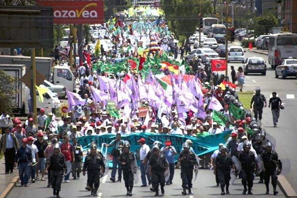 10,000 march in the streets of Lima for a strong climate agreement.