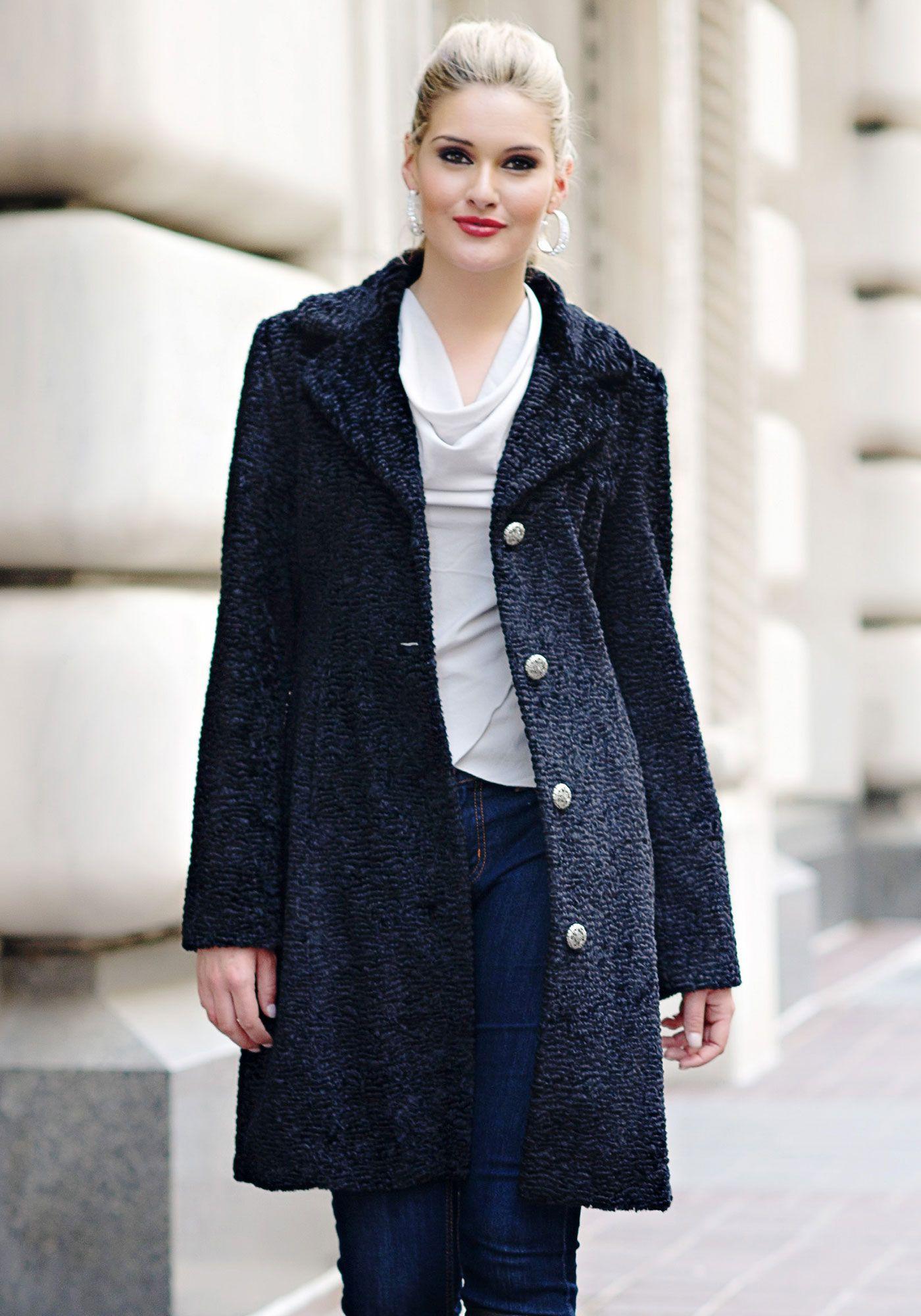 Gallery Notch Collar Faux Persian Lamb Fur Coat   Nordstrom $239