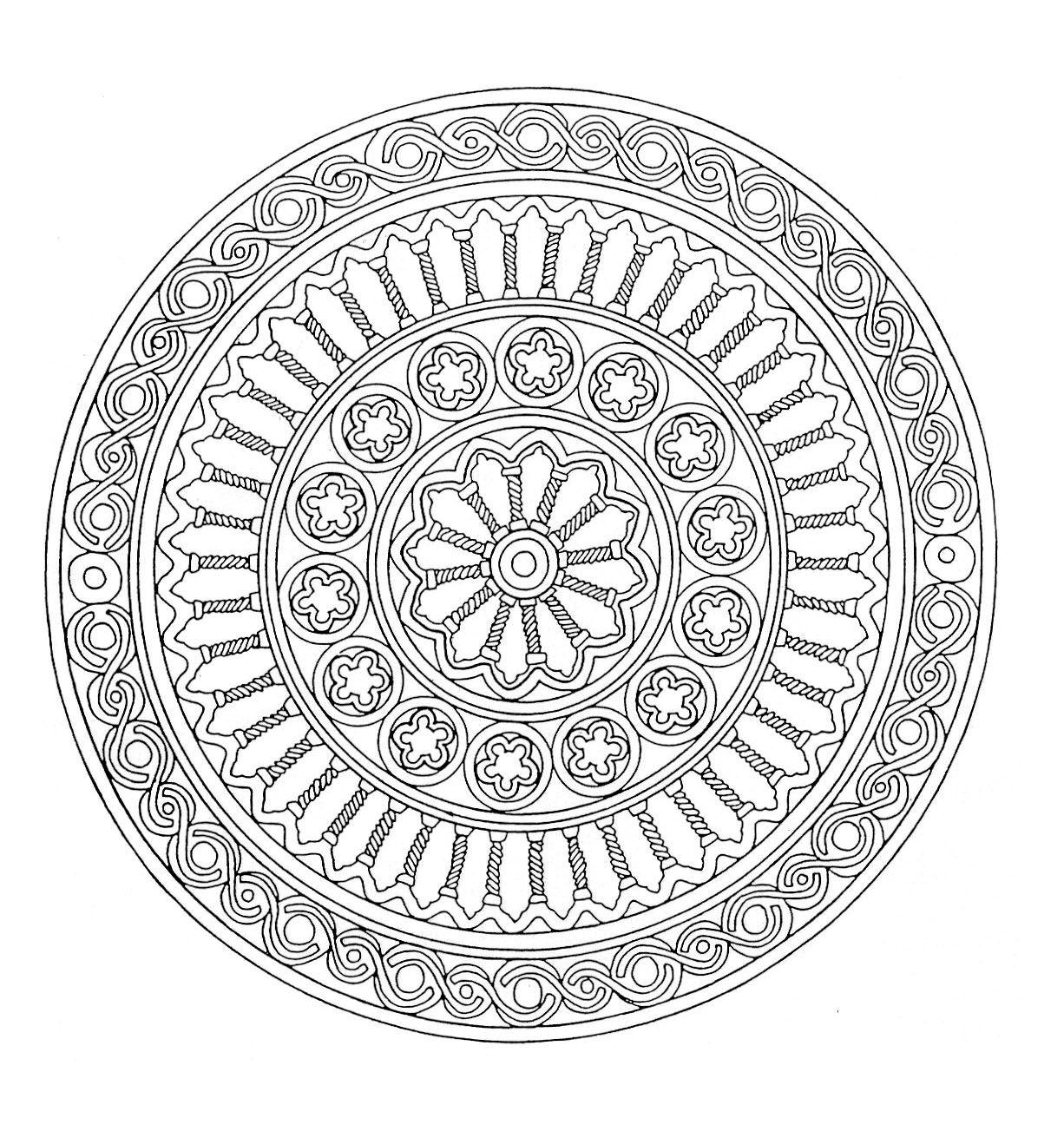 Galerie de coloriages gratuits Est ce la Grªce qui a servi d inspiration pour ce Mandala y retrouve en tout cas ce qui semble ªtre des colonnes de