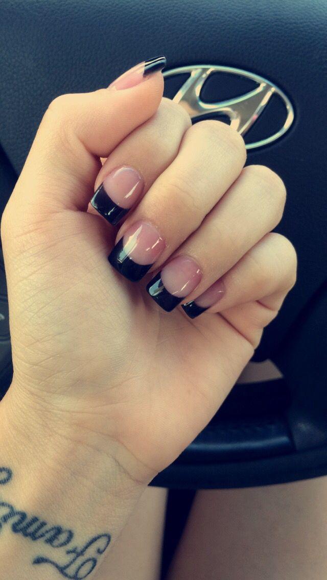 Black french nails #acrylic nails #black nails #french tip | Nails ...