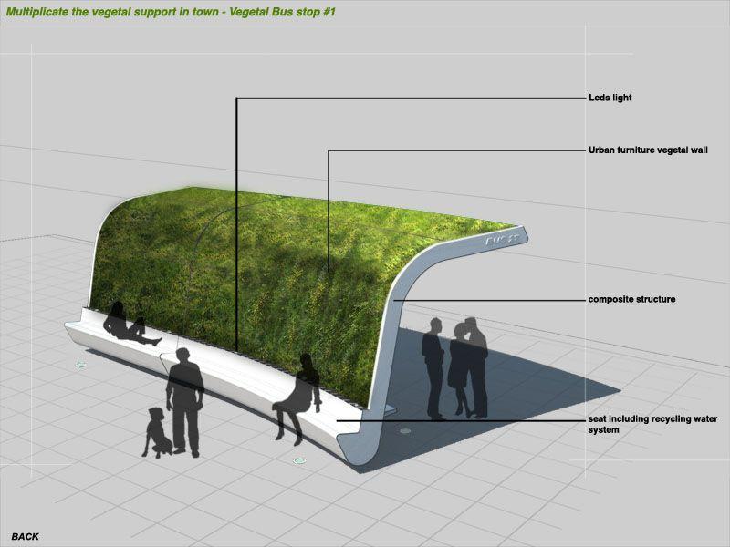 Vegetal Bus Stop Parking Design Bus Stop Sustainable City