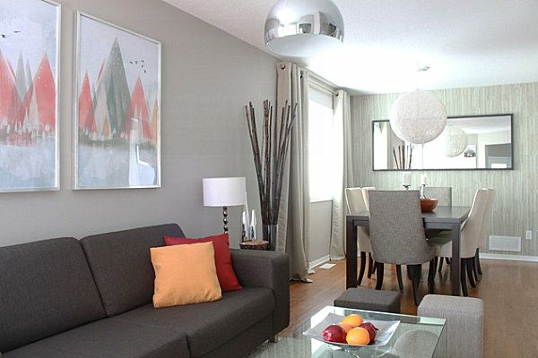 wandfarben ideen wohnzimmer hell grau rot Ideen rund ums Haus - wohnzimmer ideen grau