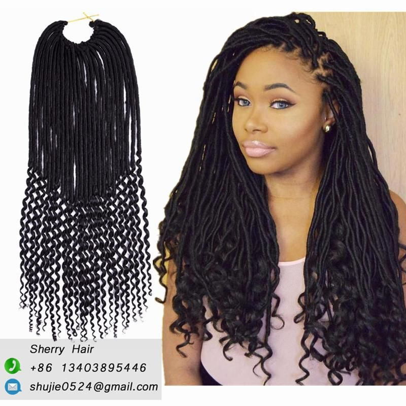 Synthetic Hair For Braiding 20 Inch 24strands Dess Faux Locs Crochet Curly Ends Ombre Dreadlocks Extensions Wavy Kanekalon