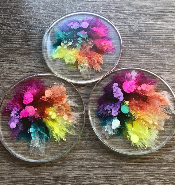 Resin coasters, alcohol ink coasters, rainbow coasters, Petri dish, resin art, unique gift, housewarming gift, resin art, set of 3 or 6 #alcoholinkcrafts