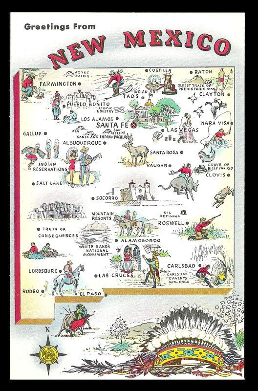 New Mexico Map Postcard Indian Chief Headdress Cities Icons NM PC - New mexico map with cities