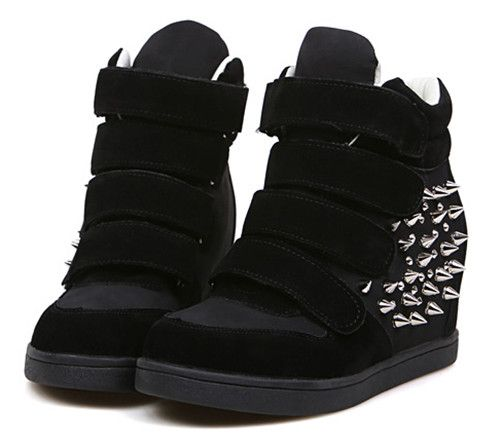 Free shipping Black Beige Women's High Top Velcro Strap Spike ...