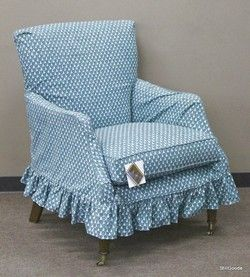 Blue And Grey Slipcovered Down Filled Chair By Southern Furniture. Brand  New On Consignment From