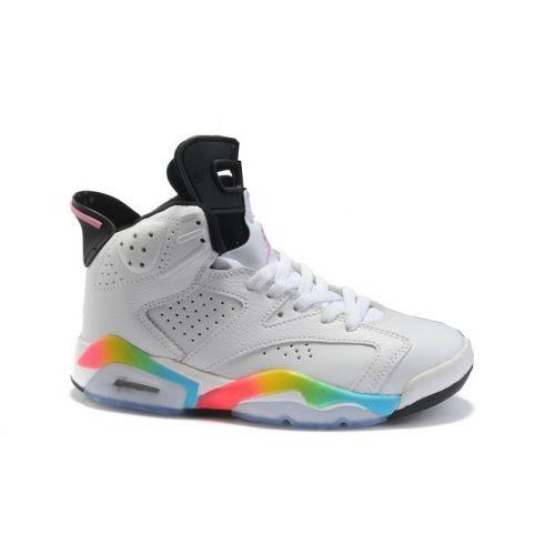 ec38610ea19063 Air Jordan Retro 6 (Gs) White Pink Flash Volt Mrn Blue