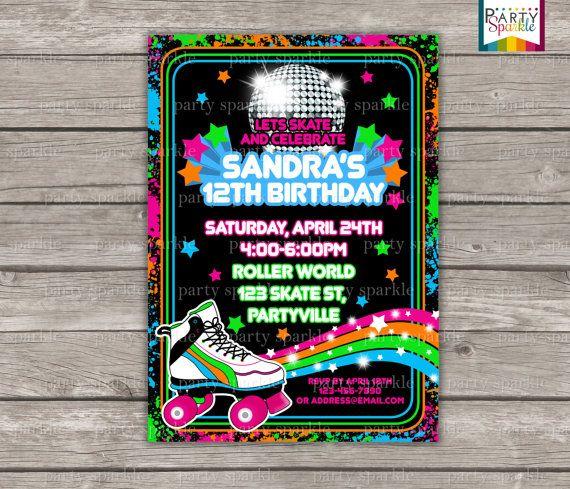 Neon Skate Party Retro Roller Disco Birthday Invite Personalized