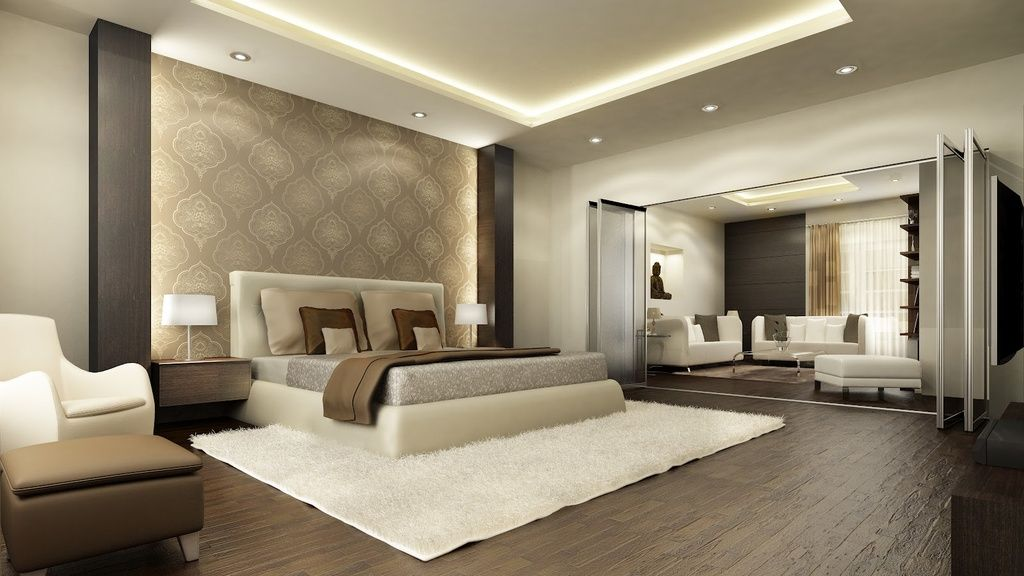 Wonderful Contemporary Master Bedroom With Columns, Crown Molding, Throw Blanket,  Ottoman, Recessed Ceiling, Glass Room Divider
