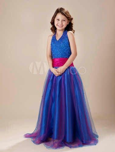 Vestido azulino y fucsia