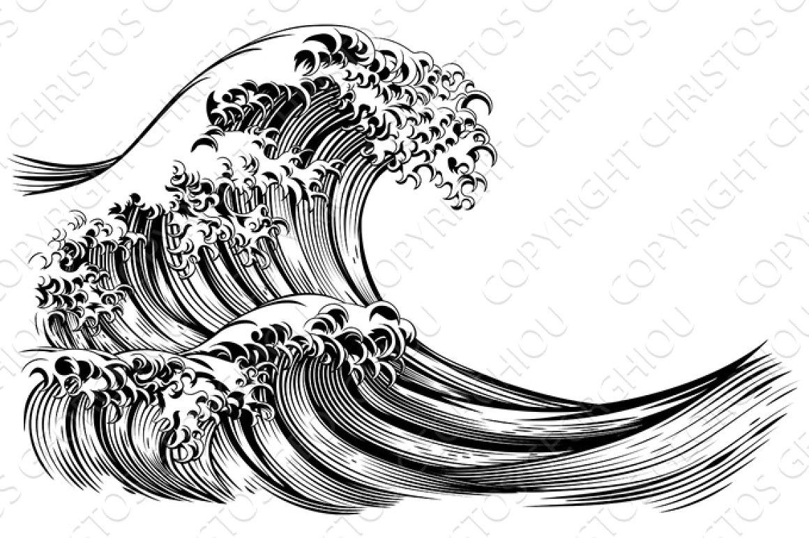 Great Wave Japanese Style Engraving Wave Japanese Engrave