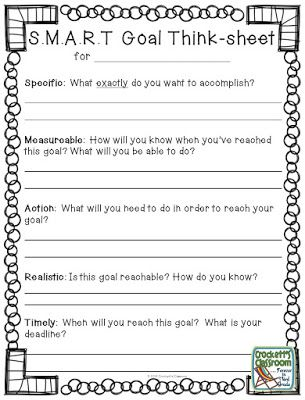 SMART goal think-sheet to help students set goals for the new