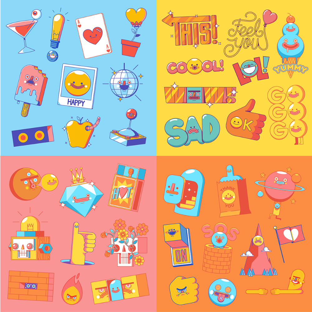 Snapchat Stickers 19 on Behance (With images) Snapchat