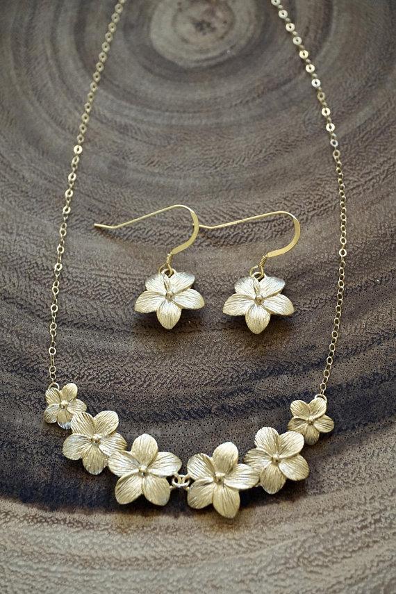 Gold Plumeria Flower Lei Jewelry Set Plumeria Necklace Plumeria