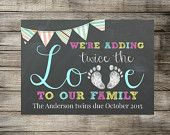 Twins Announcement - We're Adding Twice The Love To Our Family - Chalkboard Photo Prop / Sign / Card - Printable Pregnancy Announcement