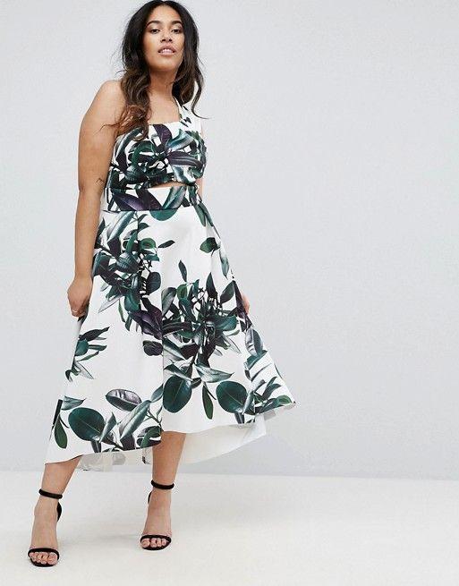 Asos Curve Palm Print One Shoulder Scuba Dip Back Prom Dress Plus