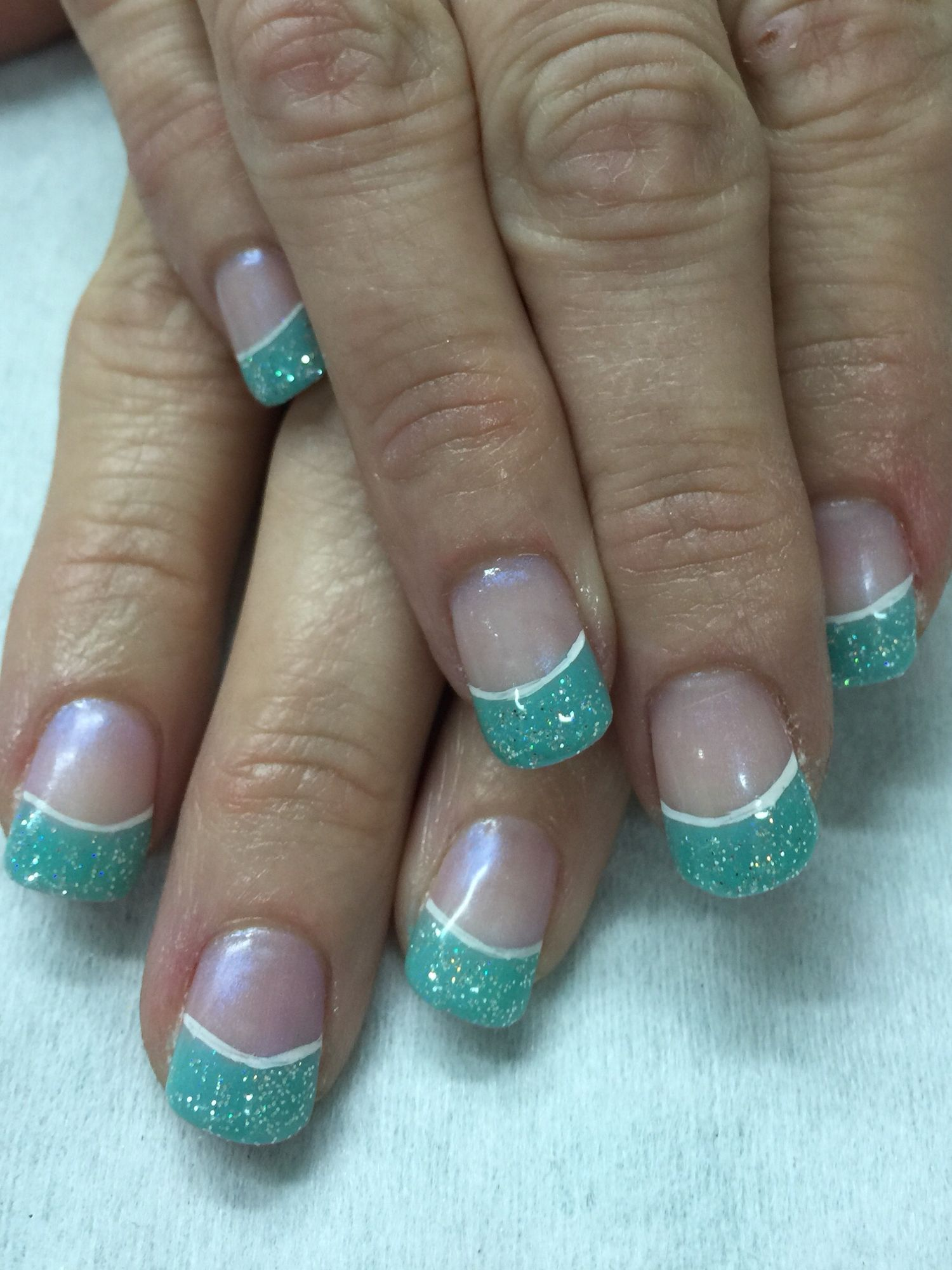 Sparkly mint glow in the dark French gel nails. All done with non ...