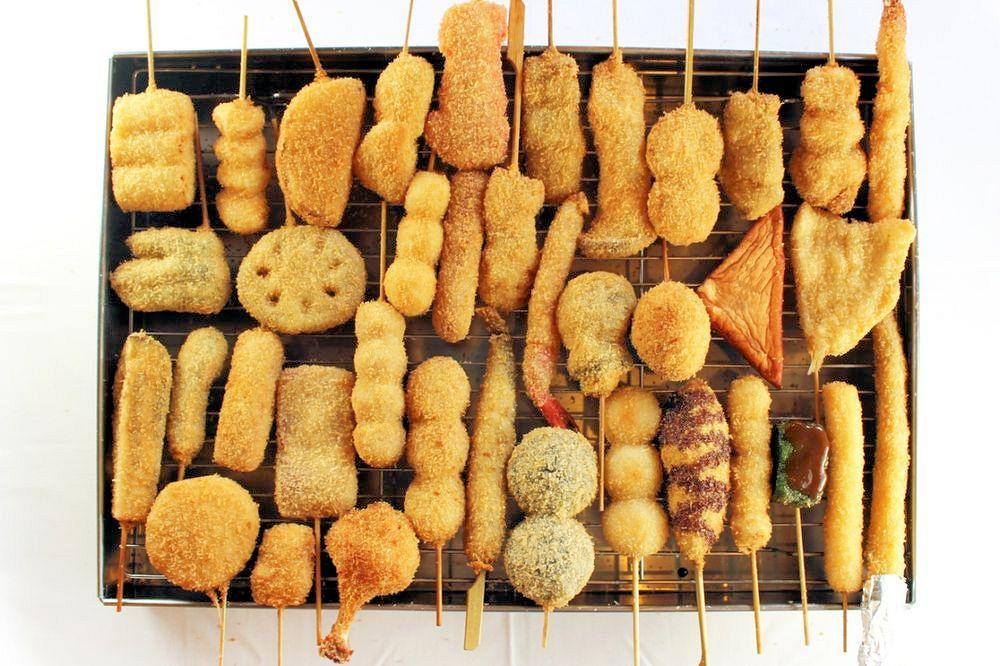 A selection of kushikatsu, deep-fried skewered meat and vegetables.Source: Kushikatsu Tanaka Co.