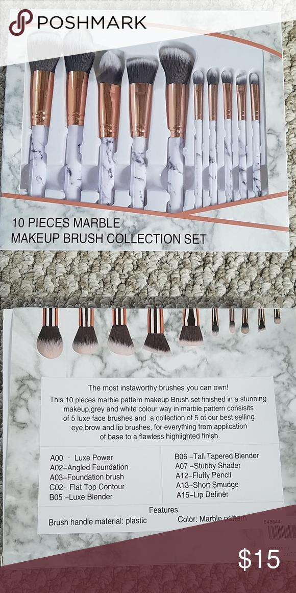 10 Piece Marble Makeup Brush Kit Makeup Brush Kit Makeup Brushes Brush Kit