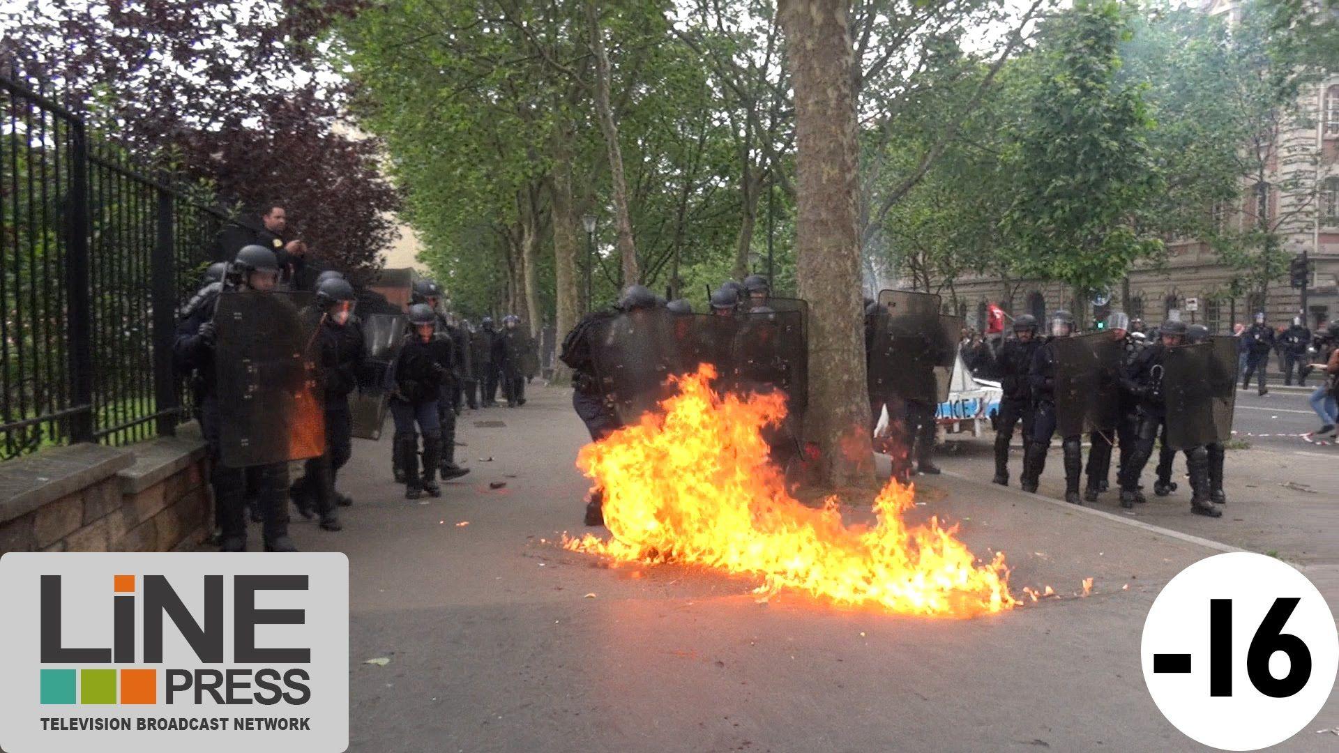Manif Loi Travail. Violence extrême. Guérilla urbaine / Paris - France 1...