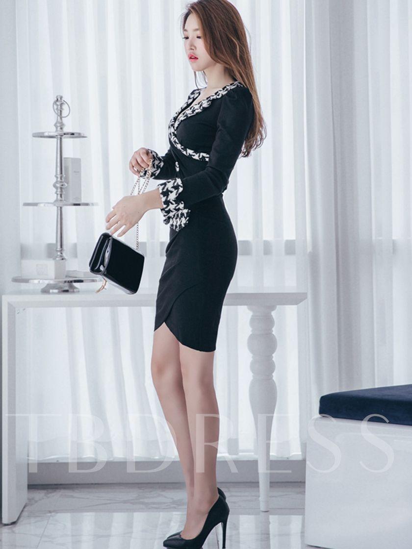 Plaid Long Sleeve Women's Bodycon Dress