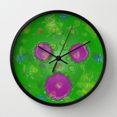 Abstract Colors Green Pink Blue Red Wall Clock Clock Wall