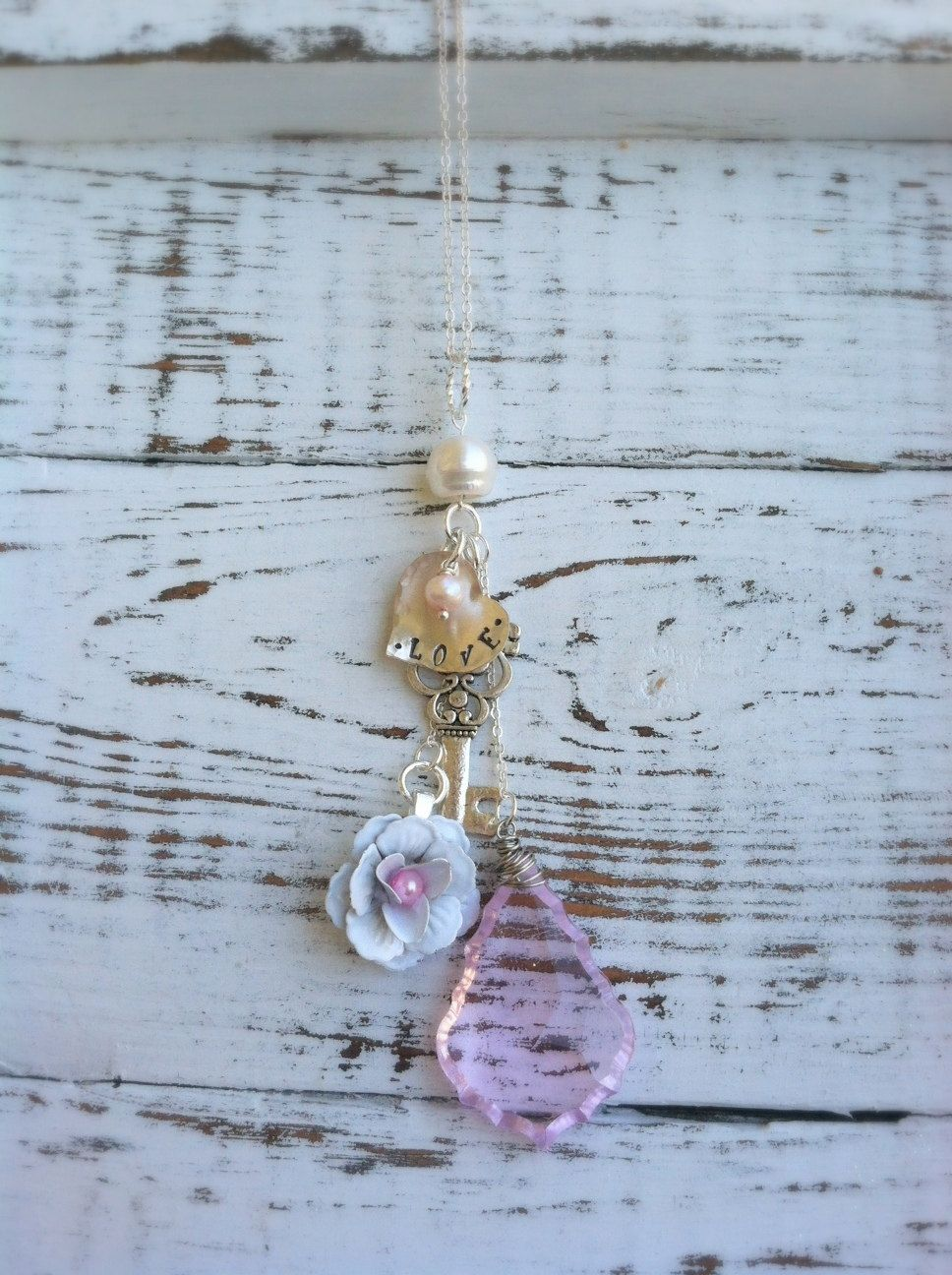 Stamped Dangling Cluster Shabby Chic Necklace