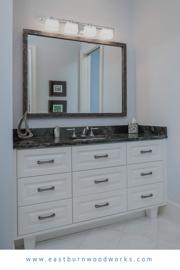 All White Bathroom Vanity With Raised Panel Drawers Master Bathroom Renovation White Vanity Bathroom All White Bathroom