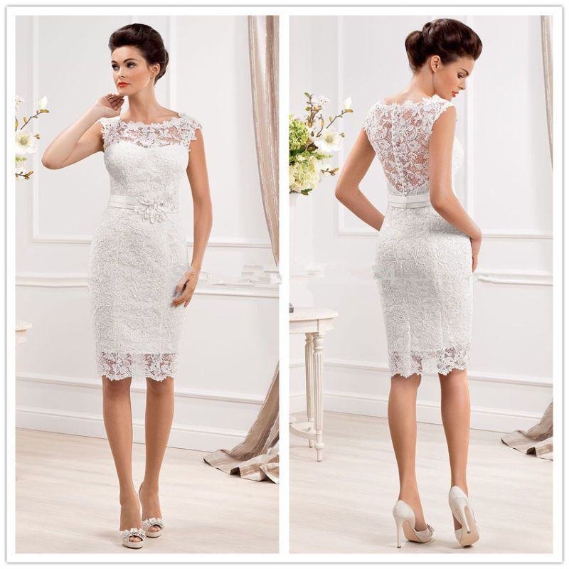Knee Length Short Lace Wedding Dresses With Appliques Bridal Gowns ...