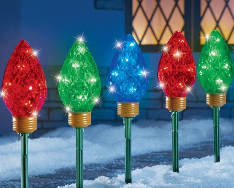 Led Christmas Bulbs Garden Path Light Stakes Christmas Decor - christmas clearance decor