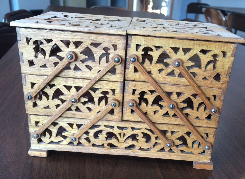 Vintage Scroll Wood Cut Accordion Table Top Sewing Box | Pinterest