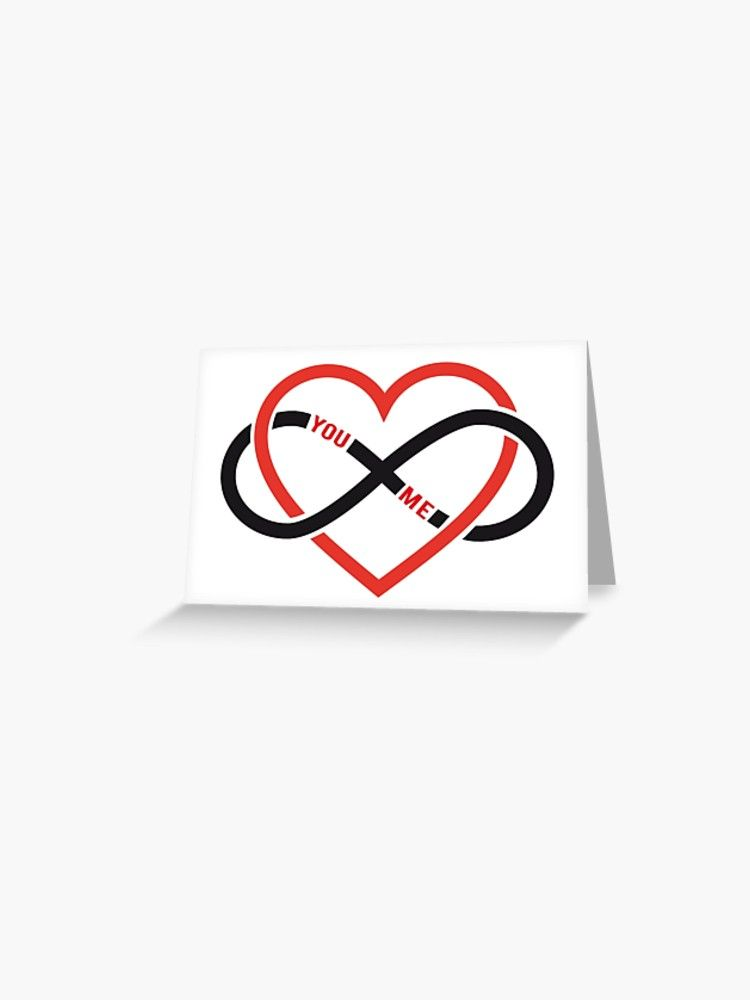 Never Ending Love Red Heart With Infinity Sign Greeting Card