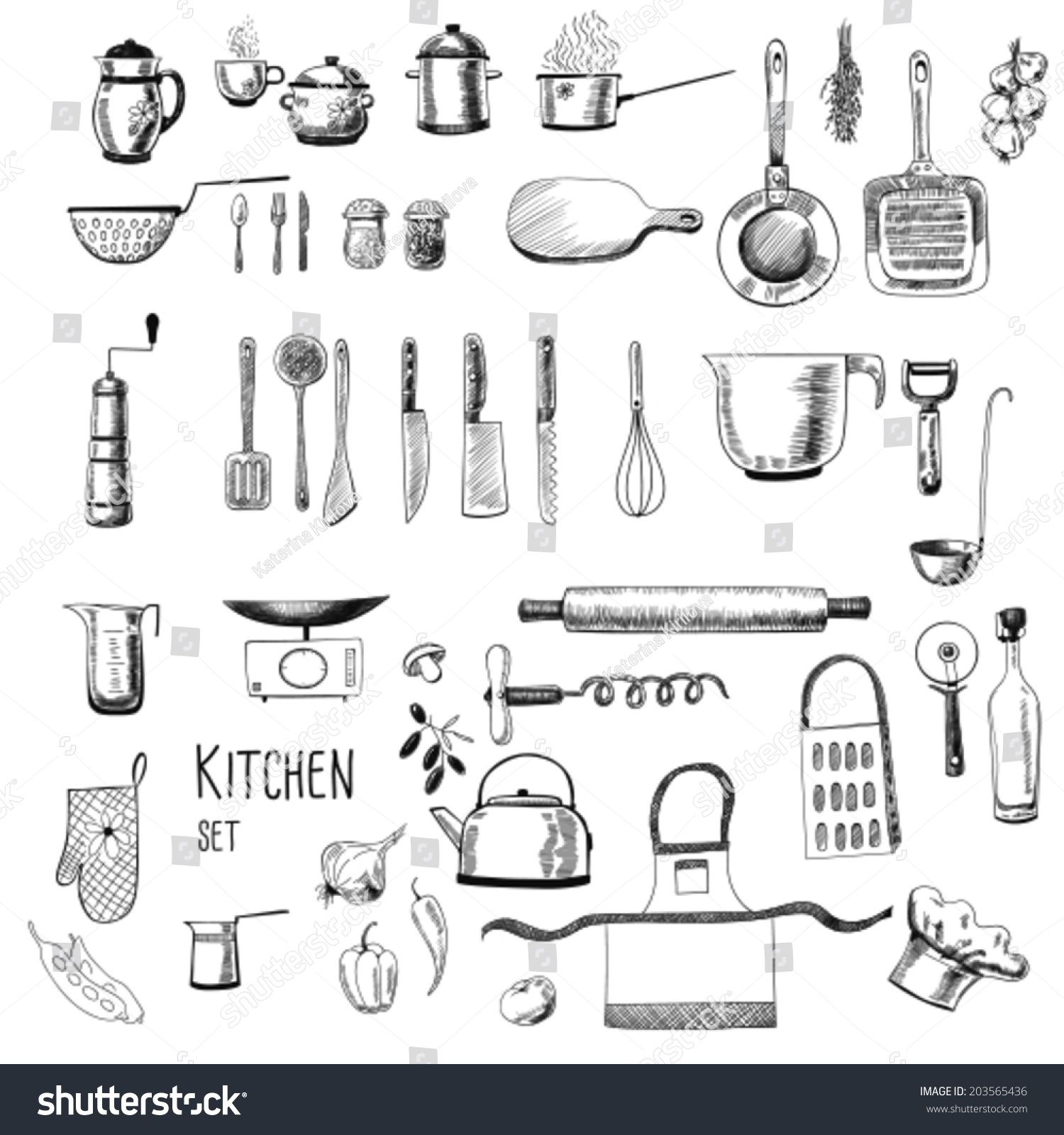 Kitchen Set Large Collection Of Hand Drawn Kitchen Related