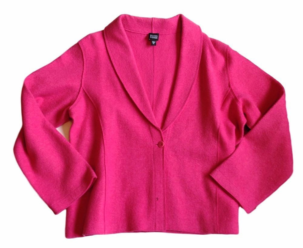 Eileen Fisher Pink Boiled Wool Jacket Blazer Sweater 65FE-SZ XL-N ...