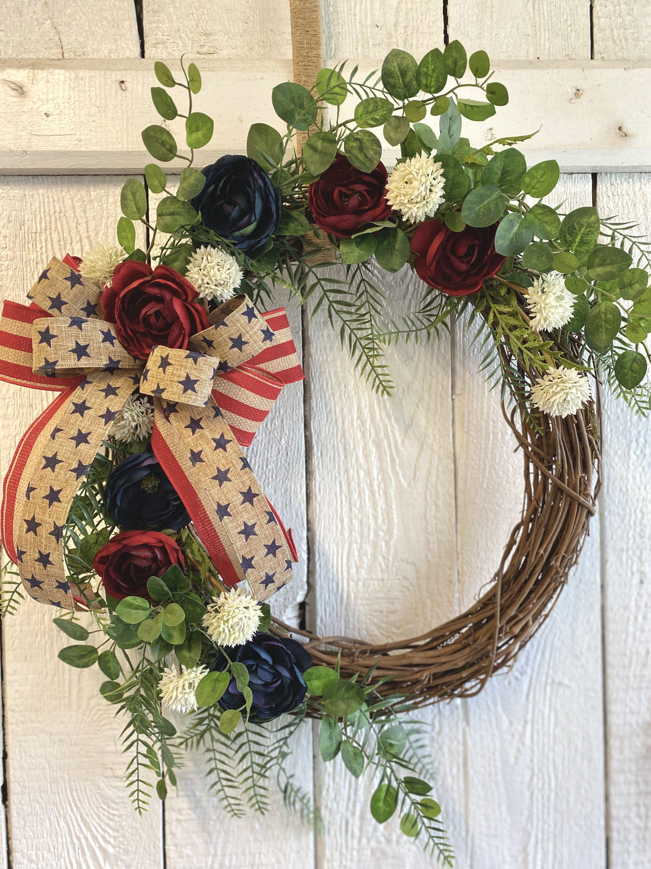 Patriotic Wreath, Americana Wreath, Red White and BlueWreath, Memorial Day Wreath, Fourth of July Wreath,Summertime Wreath,Year Round Wreath